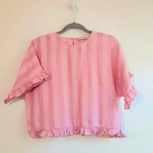 Zara Pink Striped Crop Top Size XS